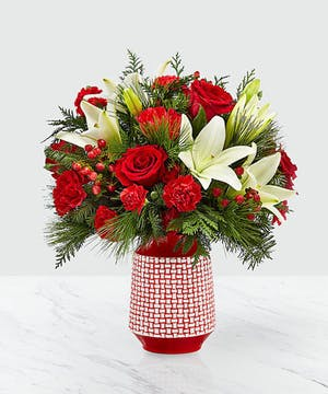 Hues of red are contrasted with bursts of white!