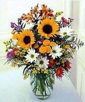 Sunflowers, delphinium & assorted filler flowers