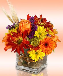 Lovely fall bouquet in a square vase