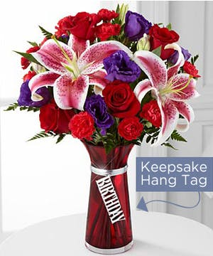 Birthday Wishes Bouquet is bursting with blooming color and beauty to celebrate your special recipient's big day