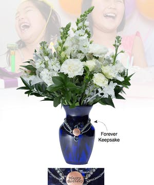 Vase of Life - Happy Birthday - Blue Vase  - Boesen The Florist