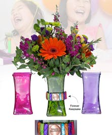 Vase of Life - Happy Birthday - Multi Colored Vase  - Boesen The Florist