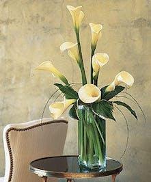 Elegant Calla Lillies in a stunning vase