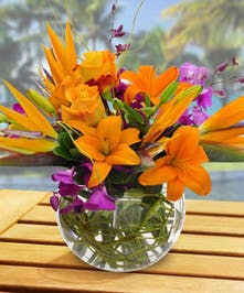 This tropical arrangement is perfect for any occasion and hand delivered by Boesen the Florist!