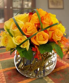 These lovely fall roses make a perfect centerpiece for any fall gathering!