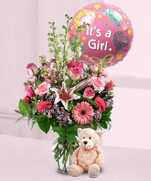 Welcome a new baby girl with this lovely arrangement!