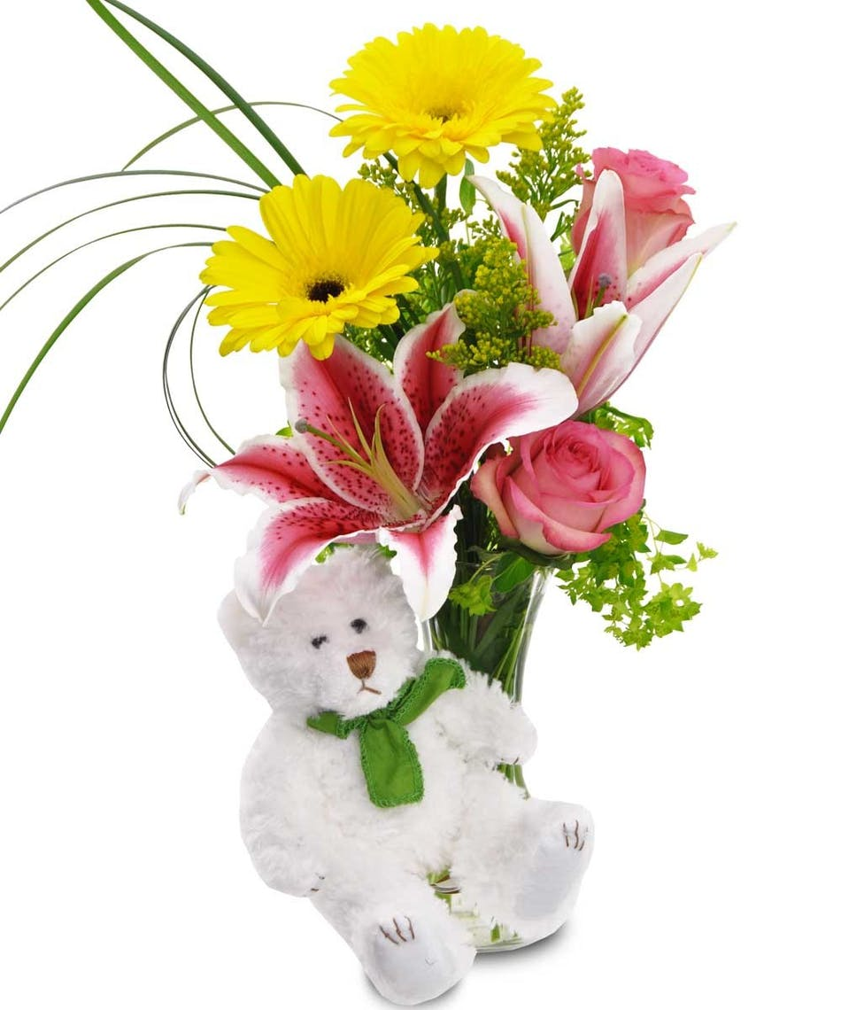 Beary bouquet get well ideas boesen the florist des moines iowa accented by a fuzzy white bear these fresh flowers provide a smile upon delivery mightylinksfo