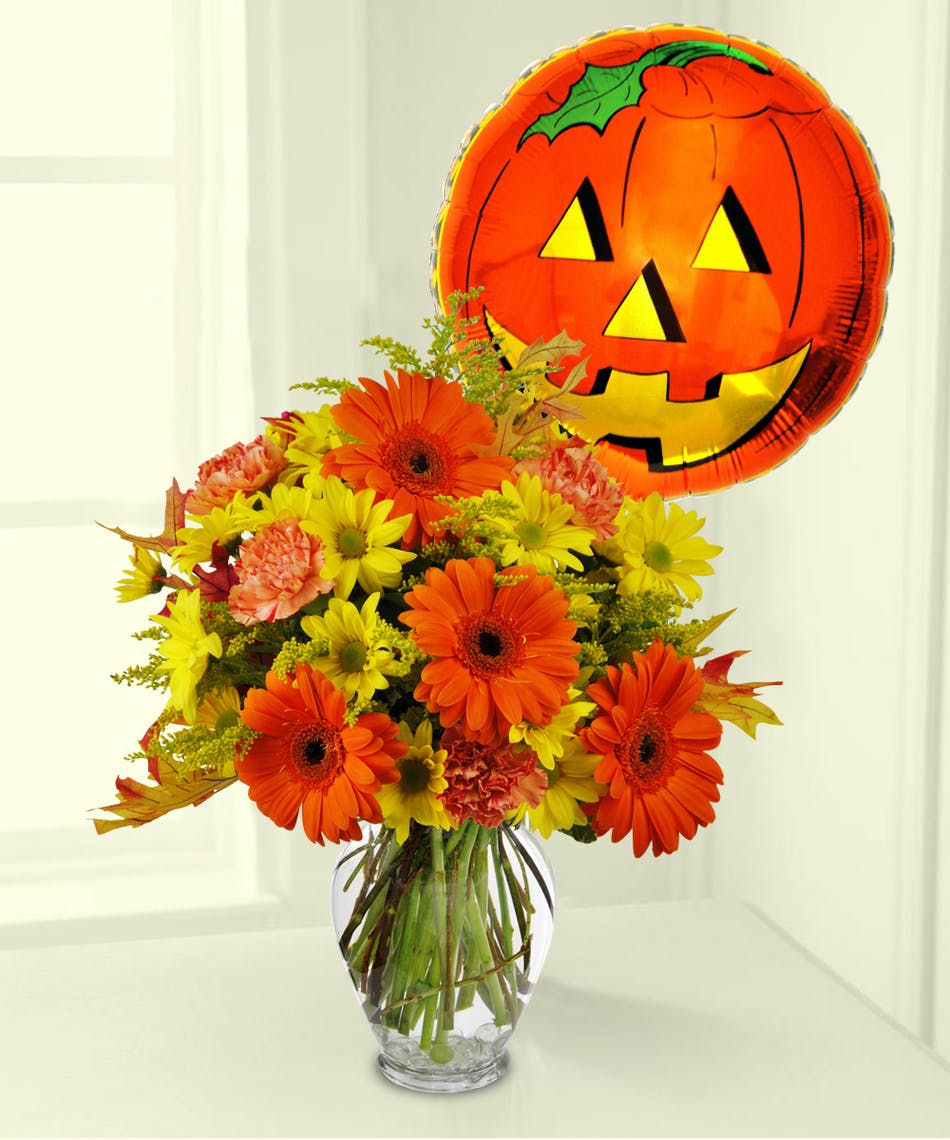 Boo loon bouquet halloween boesen the florist des moines iowa celebrate halloween with this bouquet and balloon izmirmasajfo