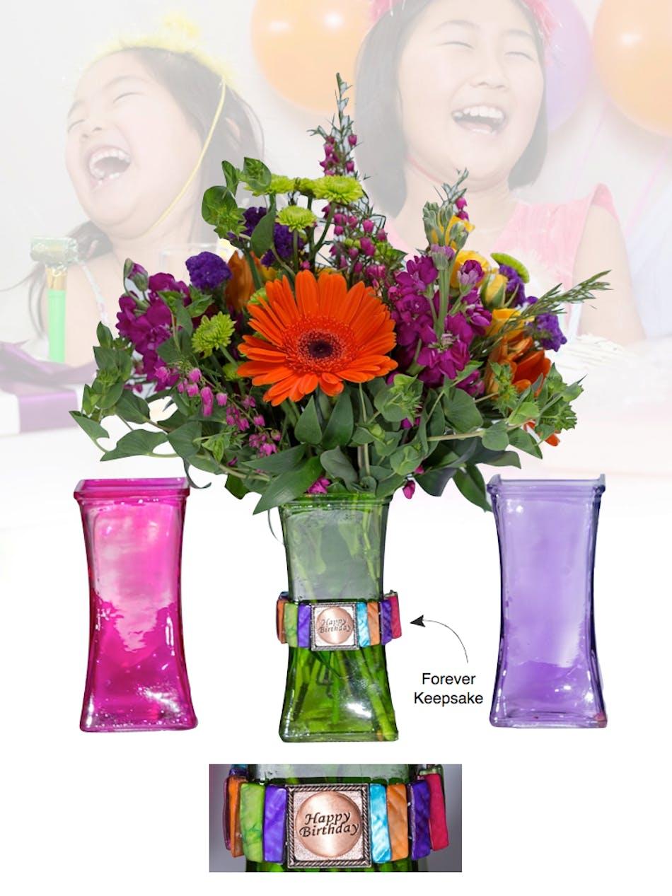 Vase of life happy birthday multi colored vase boesen the florist izmirmasajfo