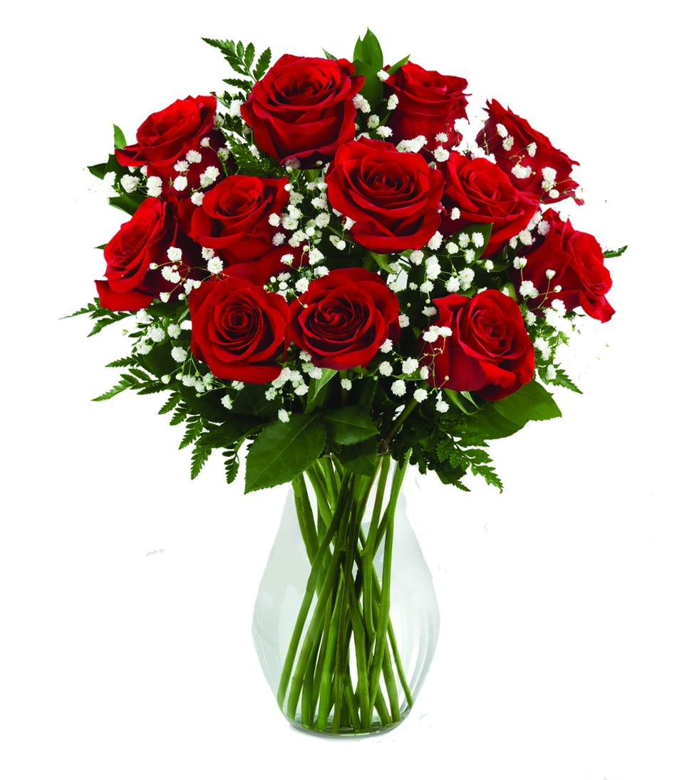 Dozen Roses In A Vase Valentines Day Flowers Boesen The Florist