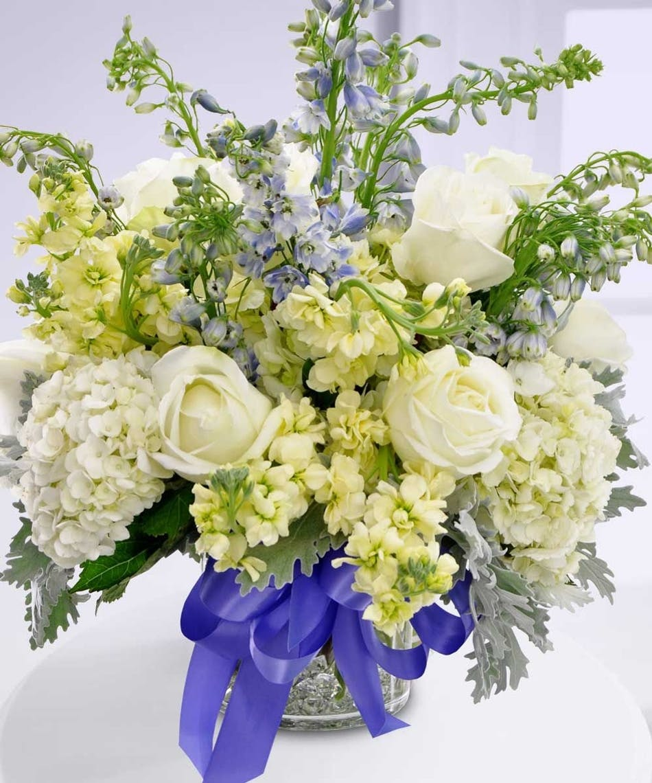 Celebrate the new birth of a prince or princess with this arrangement from boesen the florist